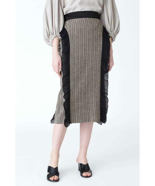 ADORE / アドーア スカート   サーブルヘリンボーンスカート(ブラック)