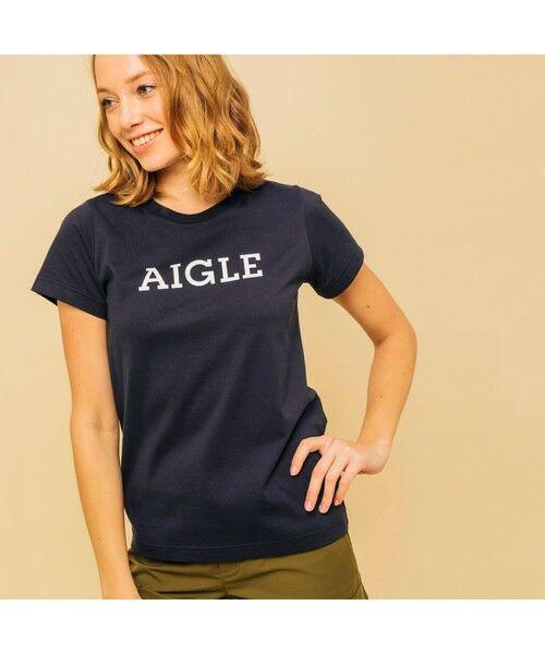 AIGLE / エーグル Tシャツ | 吸水速乾 エーグル グラフィック ロゴTシャツ(ダークネイビー)