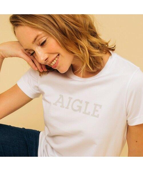 AIGLE / エーグル Tシャツ | 吸水速乾 エーグル グラフィック ロゴTシャツ(ホワイト)
