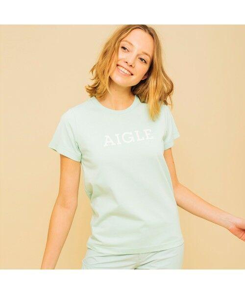 AIGLE / エーグル Tシャツ | 吸水速乾 エーグル グラフィック ロゴTシャツ(ライトグリーン)