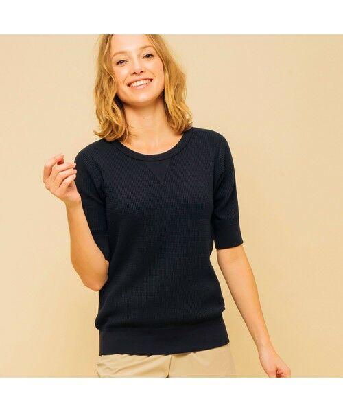AIGLE / エーグル Tシャツ   吸水速乾 ルミラソル ワッフルTシャツ(ダークネイビー)