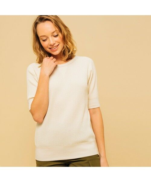 AIGLE / エーグル Tシャツ   吸水速乾 ルミラソル ワッフルTシャツ(オフホワイト)