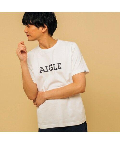 AIGLE / エーグル Tシャツ   吸水速乾 エーグル グラフィック ロゴTシャツ(オフホワイト)