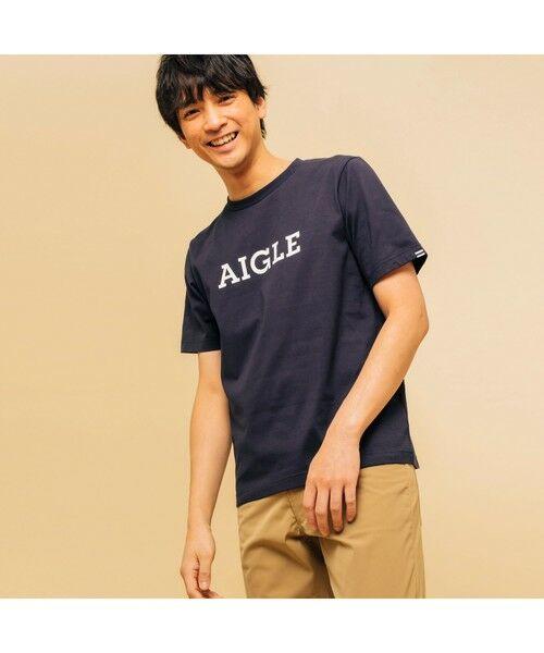 AIGLE / エーグル Tシャツ   吸水速乾 エーグル グラフィック ロゴTシャツ(ダークネイビー)
