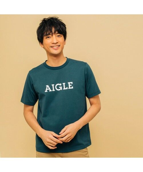 AIGLE / エーグル Tシャツ   吸水速乾 エーグル グラフィック ロゴTシャツ(ダークブルー)