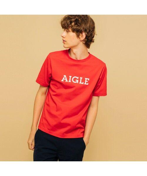 AIGLE / エーグル Tシャツ   吸水速乾 エーグル グラフィック ロゴTシャツ(レッド)