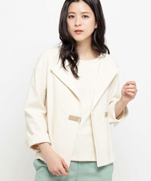 Airpapel / エアパペル テーラードジャケット | 【洗える】リップルジャージジャケット(ホワイト(002))