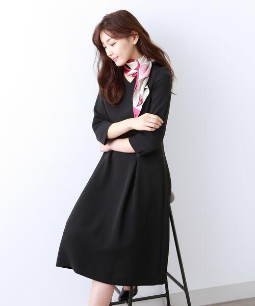 AMACA / アマカ ロング・マキシ丈ワンピース | 【Sサイズ〜】トリアセテートストレッチ ドレス(ネイビー3)