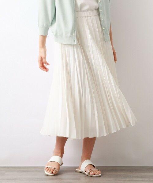 AMACA / アマカ ロング・マキシ丈スカート | パウダーストレッチクレーププリーツスカート(オフホワイト1)