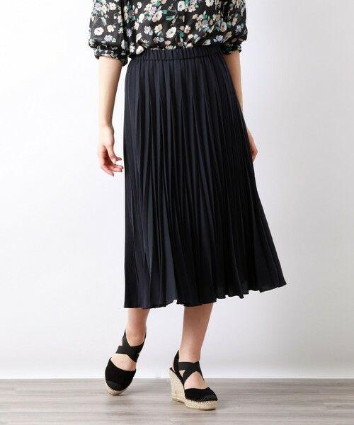 AMACA / アマカ ロング・マキシ丈スカート | パウダーストレッチクレーププリーツスカート(ネイビー2)