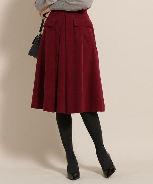 anatelier / アナトリエ ミニ・ひざ丈スカート   コットンコーデュロイミモレスカート(ボルドー(064))