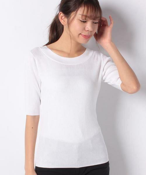 ANAYI / アナイ ニット・セーター | アセテートポリエステル半袖プルオーバー(ホワイト1)