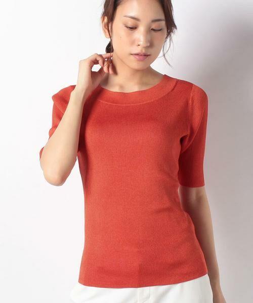 ANAYI / アナイ ニット・セーター | アセテートポリエステル半袖プルオーバー(オレンジ1)