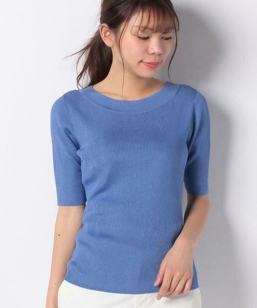 ANAYI / アナイ ニット・セーター | アセテートポリエステル半袖プルオーバー(ブルー1)
