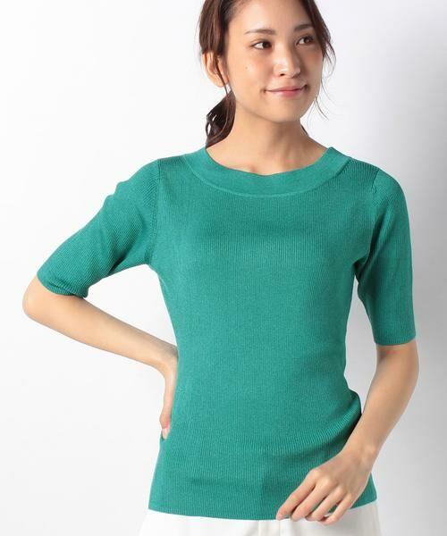 ANAYI / アナイ ニット・セーター | アセテートポリエステル半袖プルオーバー(グリーン1)