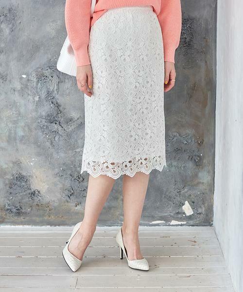 ANAYI / アナイ スカート | モザイクフラワーレースタイトスカート(ホワイト1)