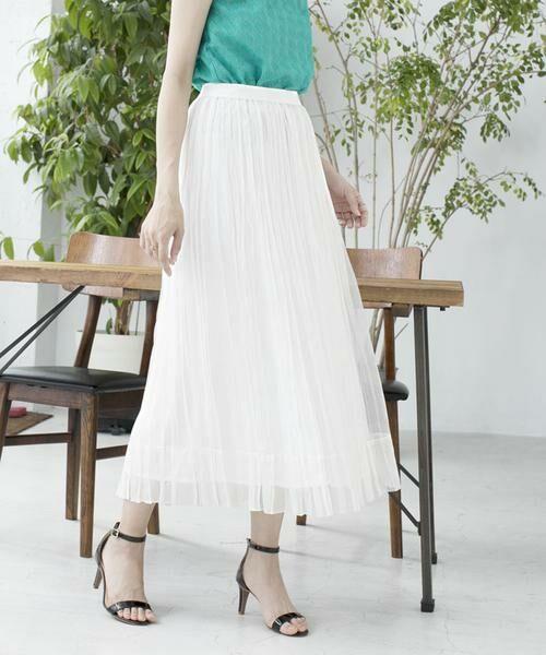 ANAYI / アナイ スカート | シルクオーガンジープリーツスカート(オフホワイト2)