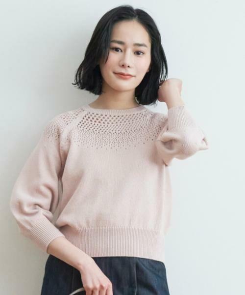 ANAYI / アナイ ニット・セーター   コットンラメリリヤーンメッシュプルオーバー   詳細4