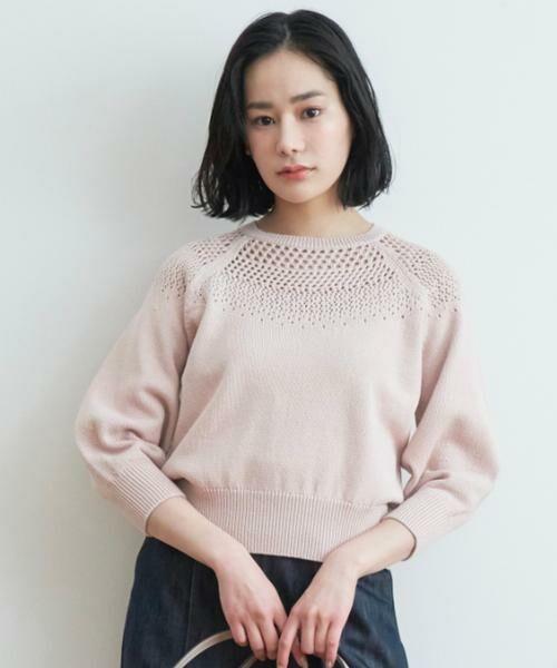 ANAYI / アナイ ニット・セーター   コットンラメリリヤーンメッシュプルオーバー(ピンク1)