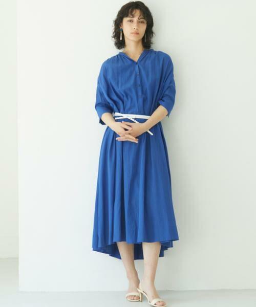 ANAYI / アナイ ワンピース | ライトローンスタンドカラー ワンピース(ブルー1)