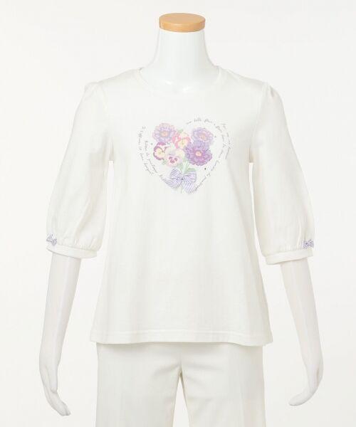 any FAM / エニィファム Tシャツ   【SCHOOL】40/2天竺 ブーケプリント Tシャツ   詳細3