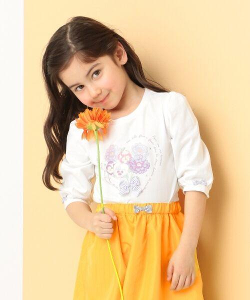 any FAM / エニィファム Tシャツ   【SCHOOL】40/2天竺 ブーケプリント Tシャツ(ホワイト系)