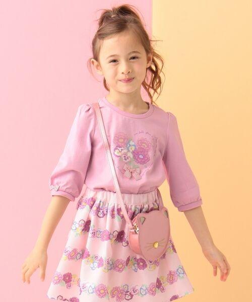 any FAM / エニィファム Tシャツ   【SCHOOL】40/2天竺 ブーケプリント Tシャツ(ピンク系)