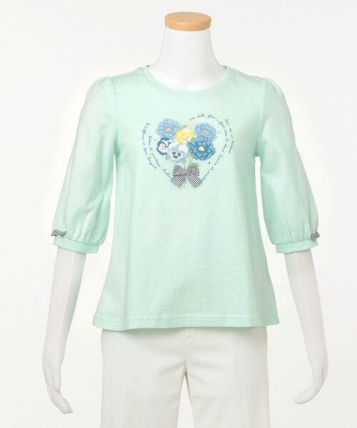 any FAM / エニィファム Tシャツ   【SCHOOL】40/2天竺 ブーケプリント Tシャツ(ライトグリーン系)