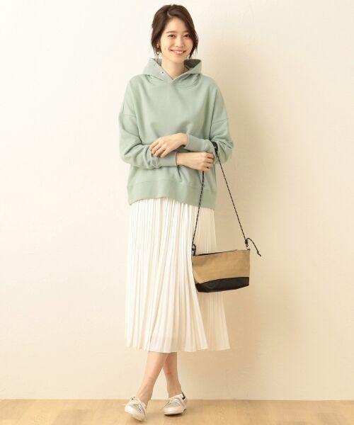 any FAM / エニィファム ミニ・ひざ丈スカート | ヴィンテージサテン プリーツスカート(ホワイト系)