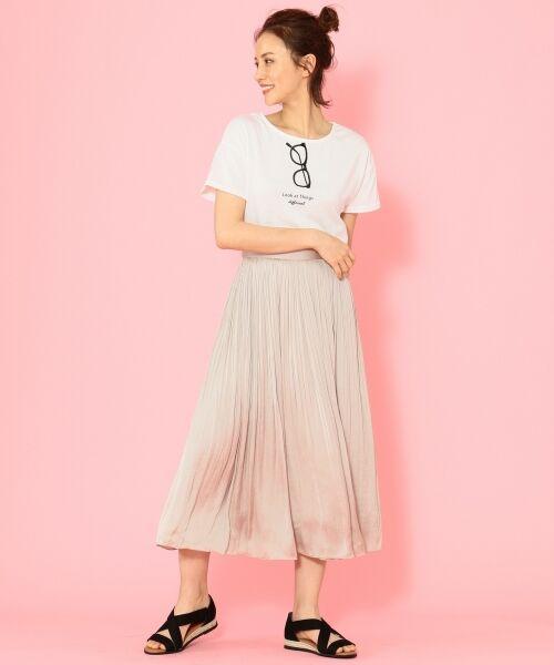 any FAM / エニィファム ミニ・ひざ丈スカート | ヴィンテージサテン プリーツスカート(ベージュ系)