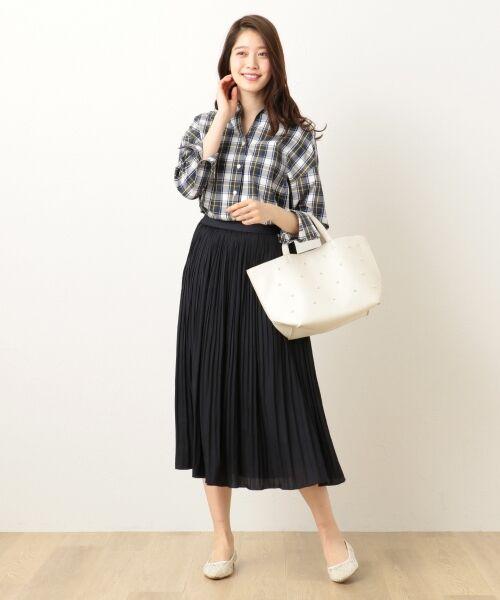 any FAM / エニィファム ミニ・ひざ丈スカート | ヴィンテージサテン プリーツスカート(ネイビー系)