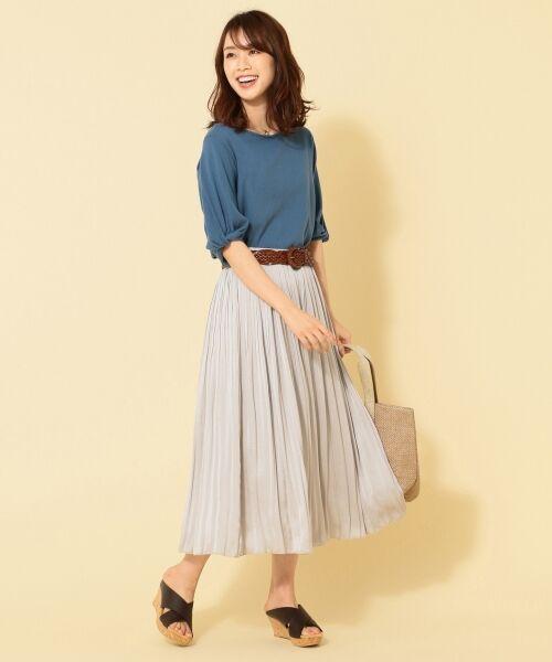 any FAM / エニィファム ミニ・ひざ丈スカート | ヴィンテージサテン プリーツスカート(ライトグレー系)