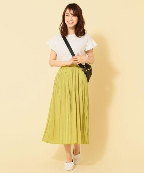 any FAM / エニィファム ミニ・ひざ丈スカート | ヴィンテージサテン プリーツスカート(イエロー系)