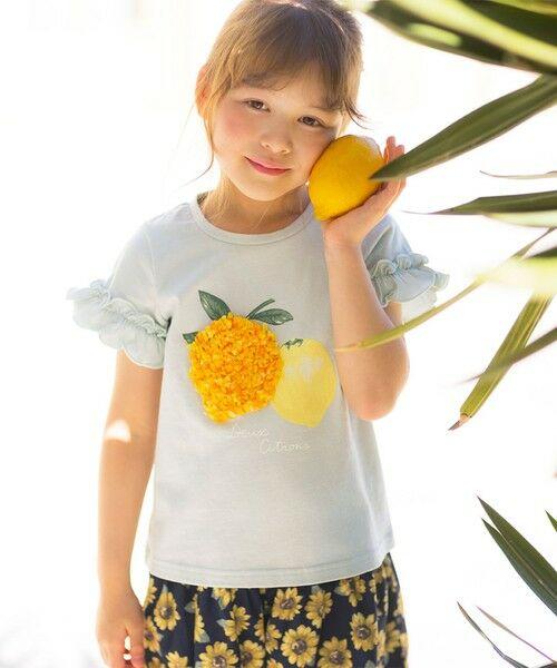 any FAM / エニィファム カットソー | シフォンモチーフ フルーツTシャツ(ライトグリーン(レモン))