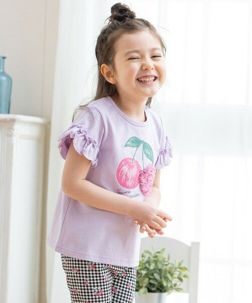 any FAM / エニィファム カットソー | シフォンモチーフ フルーツTシャツ(ラベンダー(さくらんぼ))
