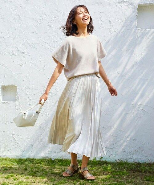 any FAM / エニィファム ミニ・ひざ丈スカート | 【洗える】ダブルプリーツ スカート(ベージュ系)