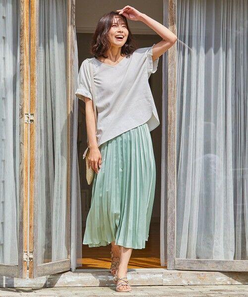 any FAM / エニィファム ミニ・ひざ丈スカート | 【洗える】ダブルプリーツ スカート(ライトグリーン系)