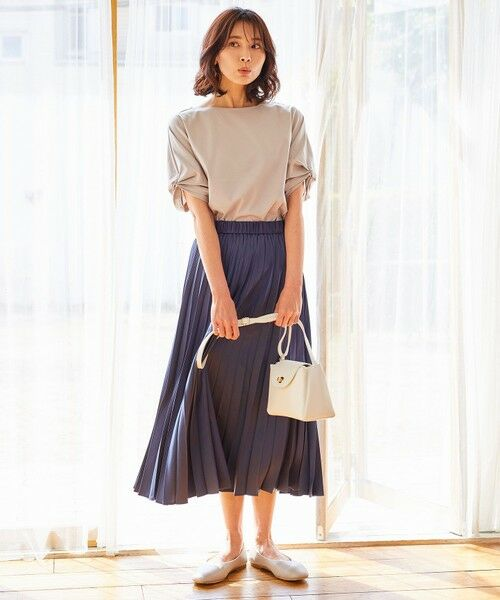 any FAM / エニィファム ミニ・ひざ丈スカート | 【洗える】ダブルプリーツ スカート(ネイビー系)