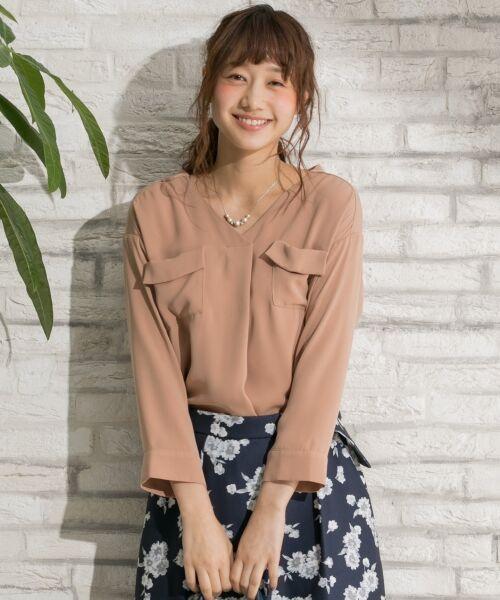 any SiS / エニィスィス Tシャツ | 【洗える】タックニュアンス ブラウス(ブラウン系)