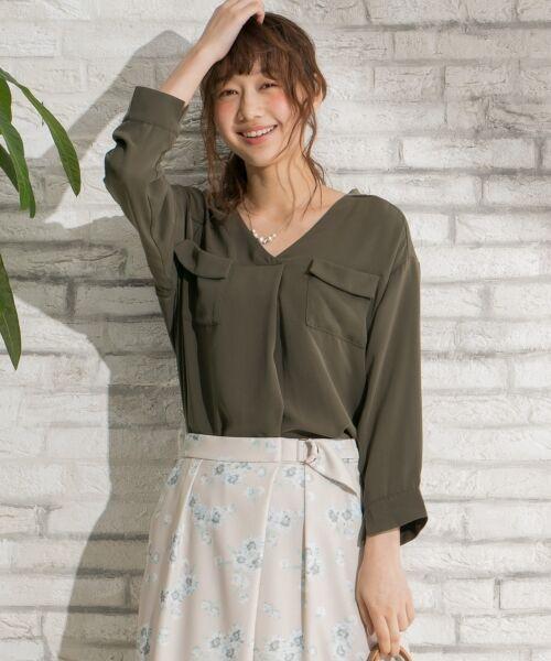 any SiS / エニィスィス Tシャツ | 【洗える】タックニュアンス ブラウス(カーキ系)