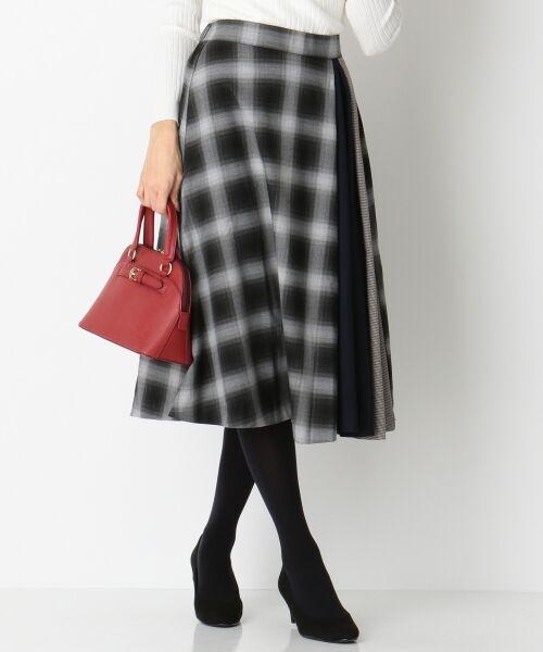 any SiS / エニィスィス ミニ・ひざ丈スカート | 【洗える】チェック柄切り替え スカート(ブラック系2)