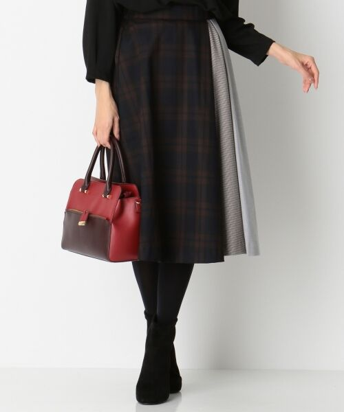 any SiS / エニィスィス ミニ・ひざ丈スカート | 【洗える】チェック柄切り替え スカート(ダークブラウン系2)
