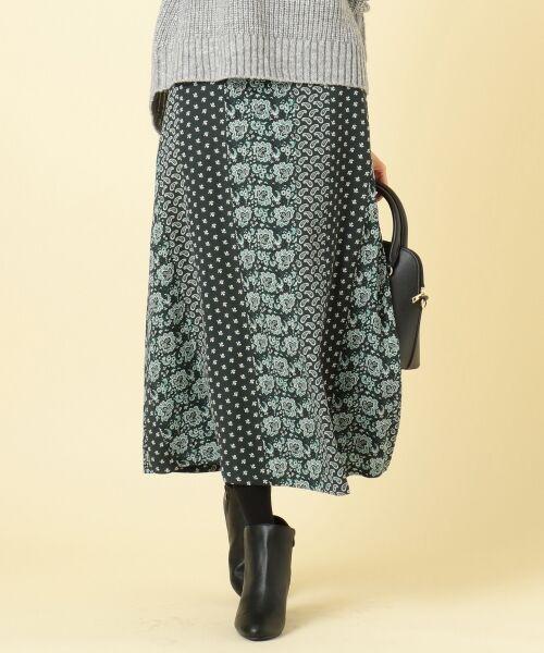 any SiS / エニィスィス ミニ・ひざ丈スカート | 【洗える】パネルプリントロング スカート(ダークグリーン系4)