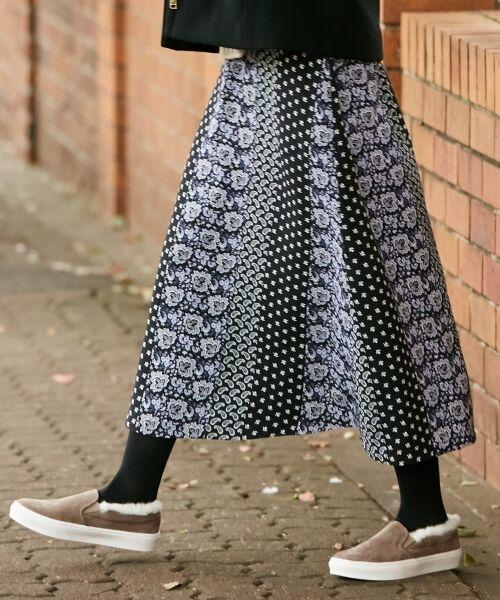 any SiS / エニィスィス ミニ・ひざ丈スカート | 【洗える】パネルプリントロング スカート(ネイビー系4)