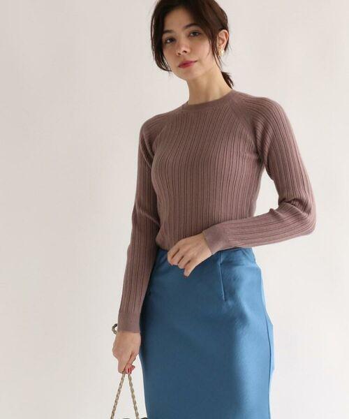 aquagirl / アクアガール ニット・セーター | レーヨン混ラグランスリーブリブニット(レットプラム(075))