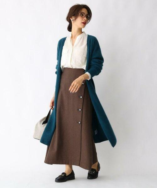 aquagirl / アクアガール ロング・マキシ丈スカート   ウール混ボタンAラインスカート   詳細3