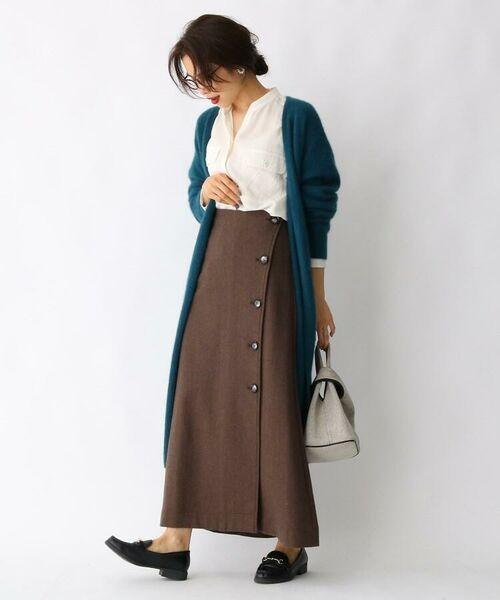 aquagirl / アクアガール ロング・マキシ丈スカート   ウール混ボタンAラインスカート   詳細5