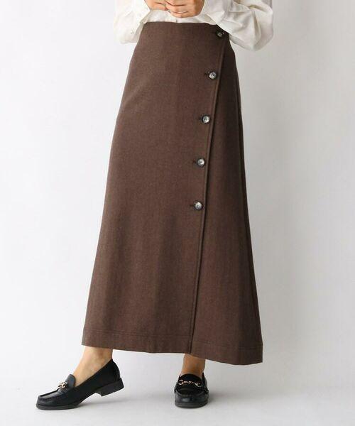 aquagirl / アクアガール ロング・マキシ丈スカート   ウール混ボタンAラインスカート   詳細7