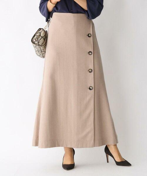 aquagirl / アクアガール ロング・マキシ丈スカート   ウール混ボタンAラインスカート(ベージュ(052))