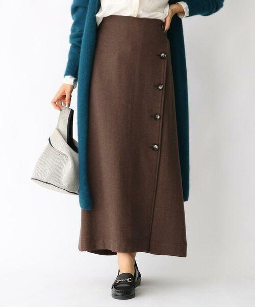aquagirl / アクアガール ロング・マキシ丈スカート   ウール混ボタンAラインスカート(タバコブラウン(055))